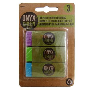 Onyx & Green Erasers, Made From Recycled Rubber - 3 Pack (2202)