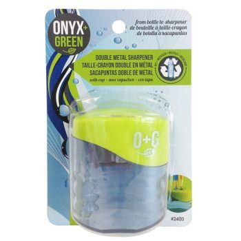 Onyx & Green Double Sharpener With Recycled Plastic Reservoir, Eco Friendly (2400)