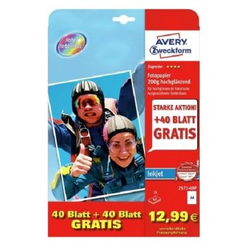Avery Photo Paper Inkjet, A4, 250G, 80 Sheets Per Pack