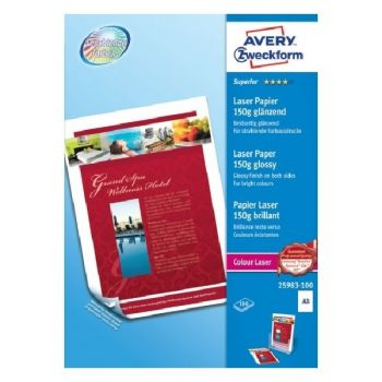 Avery Superior Colour Laser Paper, A3, 100 Sheets Per Pack