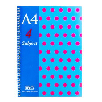 IBC 4 Subject 6 pocket Notebook A4 Size Color Dots (MP-09-4S-CPP-D)