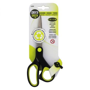 Onyx & Green Scissors 6.75 Inch Pointed Tip With Antimicrobial Comfort Grip (3203)