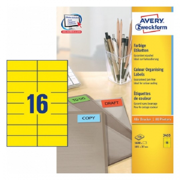 Avery Coloured Labels In A4 Sheet , 1600 Labels Per 100 Pages, Yellow