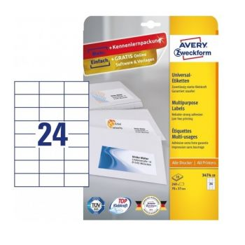 Avery Multipurpose Labels in A4 Sheet with ultragrip, 240 Labels per 10 Page, 70 x 37 mm