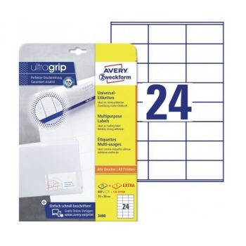 Avery Multipurpose Labels in A4 Sheet with ultragrip, 600 + 120 extra Labels per 30 Page, 70 x 36 mm