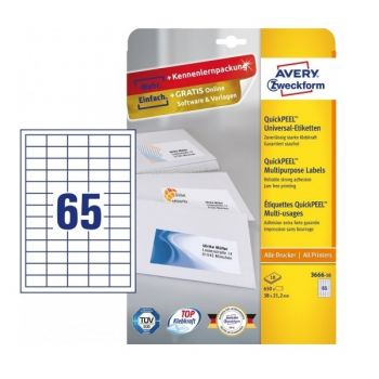 Avery Multipurpose Labels in A4 Sheet with ultragrip, 650 Labels per 10 Page