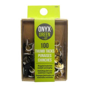 Onyx & Green Push Pins, Vinyl Covered, With Assorted Colors - 100 Pack (3801)