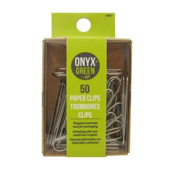 Onyx & Green Paper Clips, 50Mm,  Eco Friendly - 50 Pack (4001)