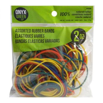 Onyx & Green Rubber Bands, Made From 100% Natural Rubber, Assorted Colors And Sizes, 2Oz (4200)