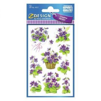 Avery Deco Stickers, Violets, 30 Sticker Per 3 Page