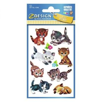 Avery Paper Stickers For Kids, Cats, 30 Sticker Per 3 Page