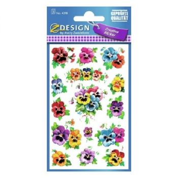 Avery Deco Stickers, Pansies, 45 Sticker Per 3 Page