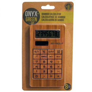 Onyx & Green Solar Powered Calculator, 8 Digits, Made From Bamboo (4404)