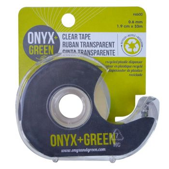 Onyx & Green Clear Tape With Full Dispenser, 1.9Cm X 33Mm, Made From Recycled Plastic (4600)