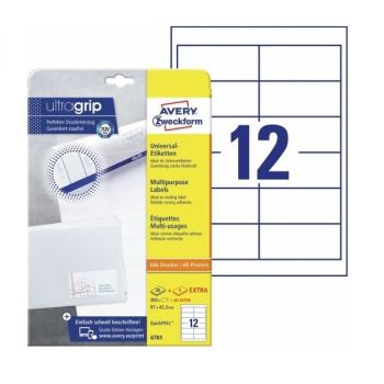 Avery Multipurpose Labels in A4 Sheet with ultragrip, 300 + 90 extra Labels per 30 Page