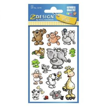 Avery Paper Stickers For Kids, Animals, 42 Sticker Per 3 Page