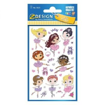 Avery Paper Stickers For Kids, Ballerina, 30 Sticker Per 1 Page