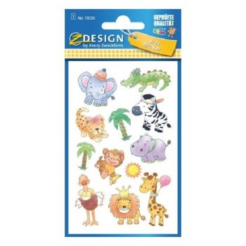 Avery Paper Stickers For Kids, Safari Babies, 12 Sticker Per 1 Page