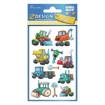 Avery Paper Stickers For Kids, Construction Machinery, 33 Sticker Per 3 Page