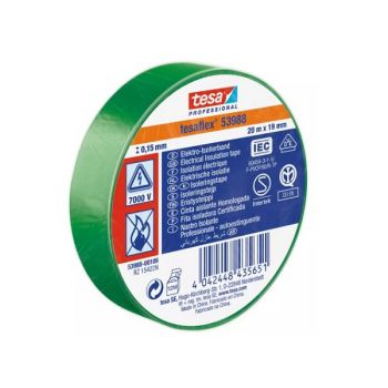 Tesaflex Professional Soft PVC Insulation Tape, 20mx19mm, Green