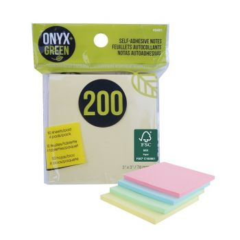 """Onyx & Green Sticky Notes, 3""""X3"""", Pastel Colors, 200 Recycled Paper Notes, Eco Friendly - 4 Pack (5401)"""