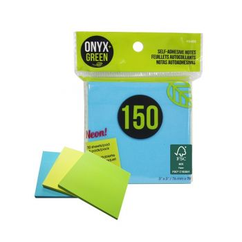 """Onyx & Green Sticky Notes, 3""""X3"""", Neon Colors, 150 Recycled Paper Notes, Eco Friendly - 3 Pack (5402)"""