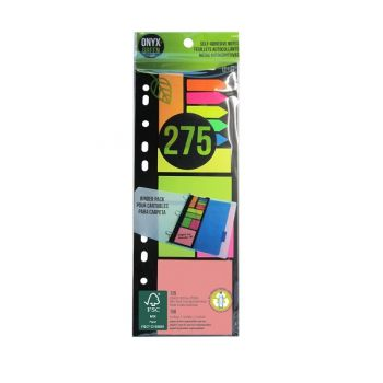 Onyx & Green Sticky Notes- 150 Recycled Paper, Arrow Strips- 125 Recycled Pet, Eco Friendly (5405)