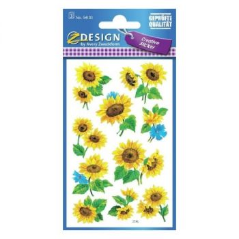 Avery Deco Stickers, Sunflowers, 30 Sticker Per 3 Page