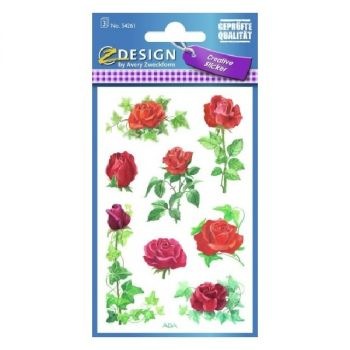 Avery Deco Stickers, Roses, 24 Sticker Per 3 Page