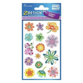 Avery Deco Stickers, Fantasy Flowers, 30 Sticker Per 2 Page