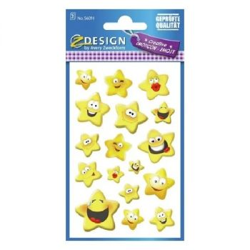 Avery Deco Stickers, Emoticon Star, 34 Sticker Per 2 Page