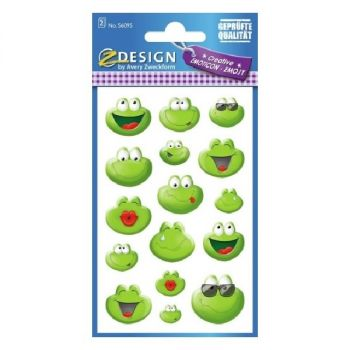 Avery Deco Stickers, Emoticon Frog, 32 Sticker Per 2 Page
