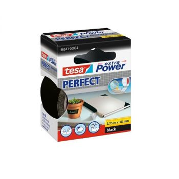 Tesa Extra Power Perfect Strong Cloth Tape, 2.75m x 38mm, Black