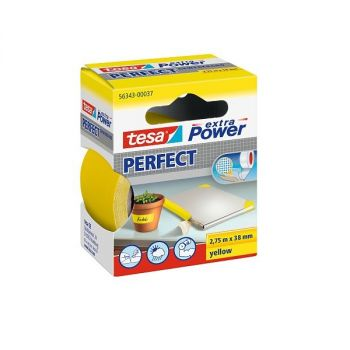 Tesa Extra Power Perfect Strong Cloth Tape, 2.75m x 38mm, Yellow