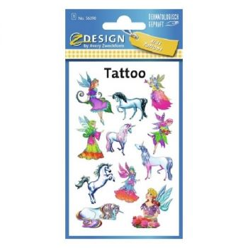 Avery Temporary Kids Tattoo, 11 Fairies/Unicorns Tattoos Per 1 Page