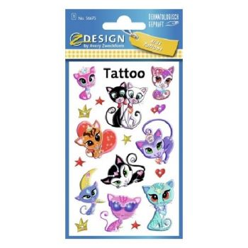Avery Temporary Kids Tattoo, 17 Cats Tattoos Per 1 Page