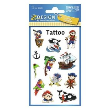 Avery Temporary Kids Tattoo, 12 Pirates Tattoos Per 1 Page