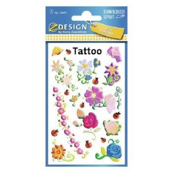 Avery Temporary Kids Tattoo, 20 Flowers Tattoos Per 1 Page