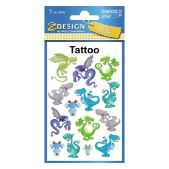 Avery Temporary Kids Tattoo, 14 Dragons Tattoos Per 1 Page