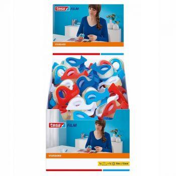 Tesa Flim Standard Adhesive Tape, 10m x 15mm + disposable dispenser, 4 colours