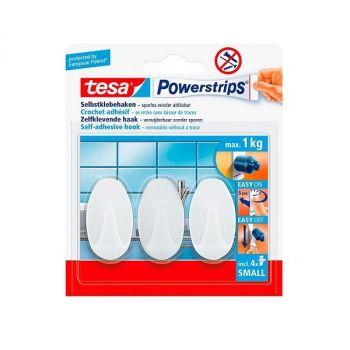 Tesa Powerstrips Hooks Small OVAL, 3 Hook/ 4 Strips, White