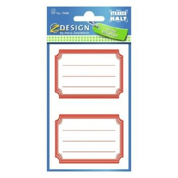 Avery Book Labels With Red Frames, 12 Labels Per 6 Pages