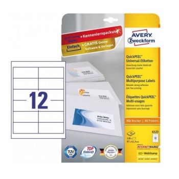 Avery Multipurpose Labels in A4 Sheet with ultragrip, 120 Labels per 10 Page