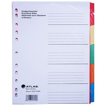 Atlas - Paper Index & Dividers with Five Colours