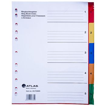 Atlas - Plastic Index & Dividers with Colour Numbers(1 to 5)