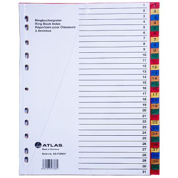 Atlas - Plastic Index & Dividers with Colour Numbers (1 to 31)