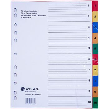 Atlas - Plastic Index & Dividers with colour Numbers (1 to 10)