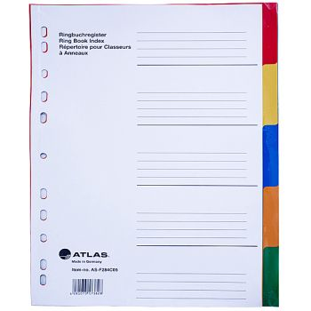 Atlas - Plastic Index & Dividers with Five Colours