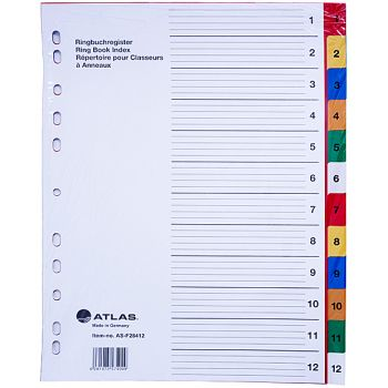 Atlas - Plastic Index & Dividers with colour Numbers (1 to 12)