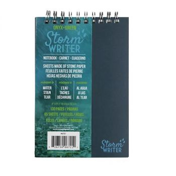 """Onyx & Green Top Spiral Notebook Stone Paper Water, Tear & Stain Resistant Storm Writer 4""""X6""""  D2W Biodegradable Cover (6721)"""